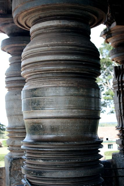 Lathe-turned cylindrical pillars are a distinctive feature of the Hoysala architecture (Mind you this is in the 12th century C.E!!). The prime movers for these lathes were horses and elephants. But the pillars are not monolithic, but sectional