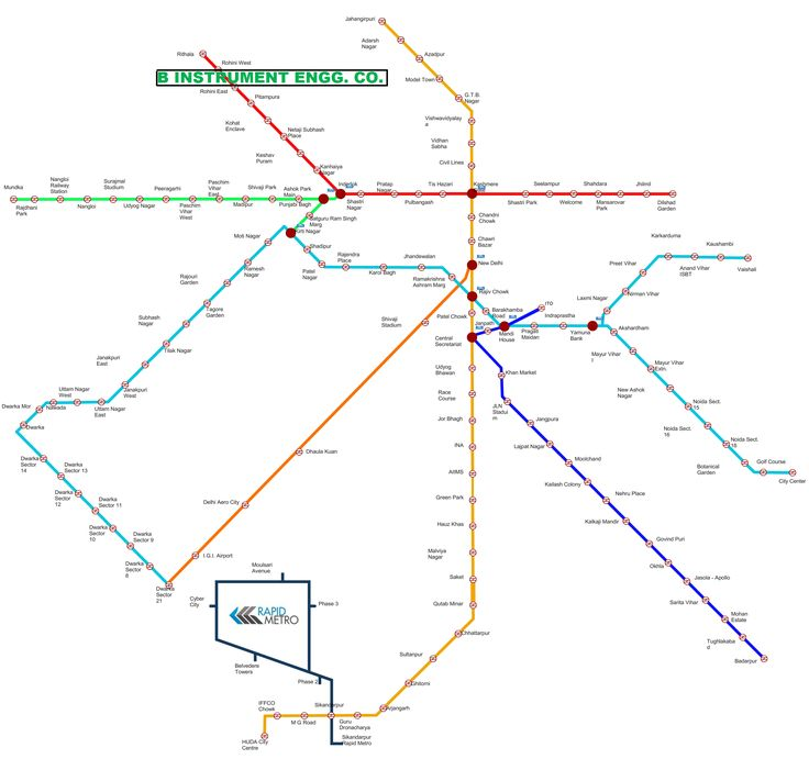 Learn Delhi Metro Rout Map and know how to reach to us B INSTRUMENT ENGG. CO. INDIA