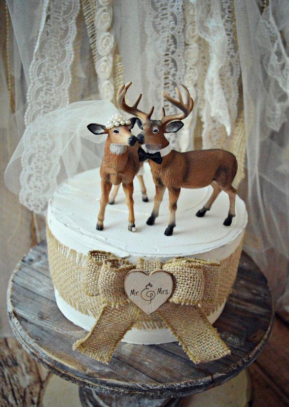 Doe And Buck Cake Topper Deer Wedding Hunting Bride Groom