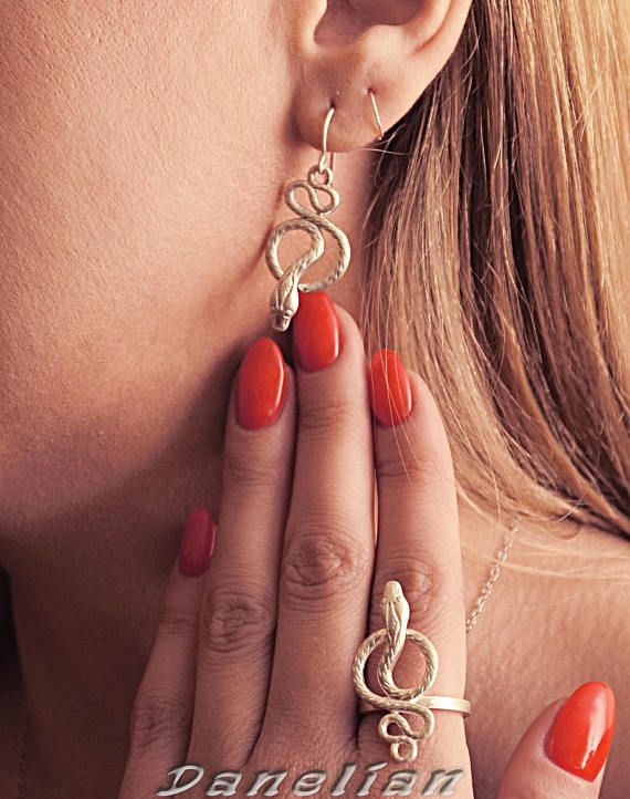 Big Snake Earrings 925 Sterling Silver - Snake Detailed Custom Goldsmith Made Jewelry - Figurine Shape Greek Ancient Jewelry Dangle Snake
