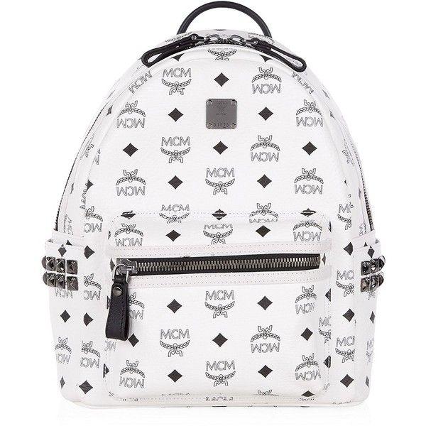 MCM Small Stark Backpack ($675) ❤ liked on Polyvore featuring bags, backpacks, accessories, mcm, bookbag, backpacks bags, studded backpack, knapsack bags, print backpacks et white studded bag