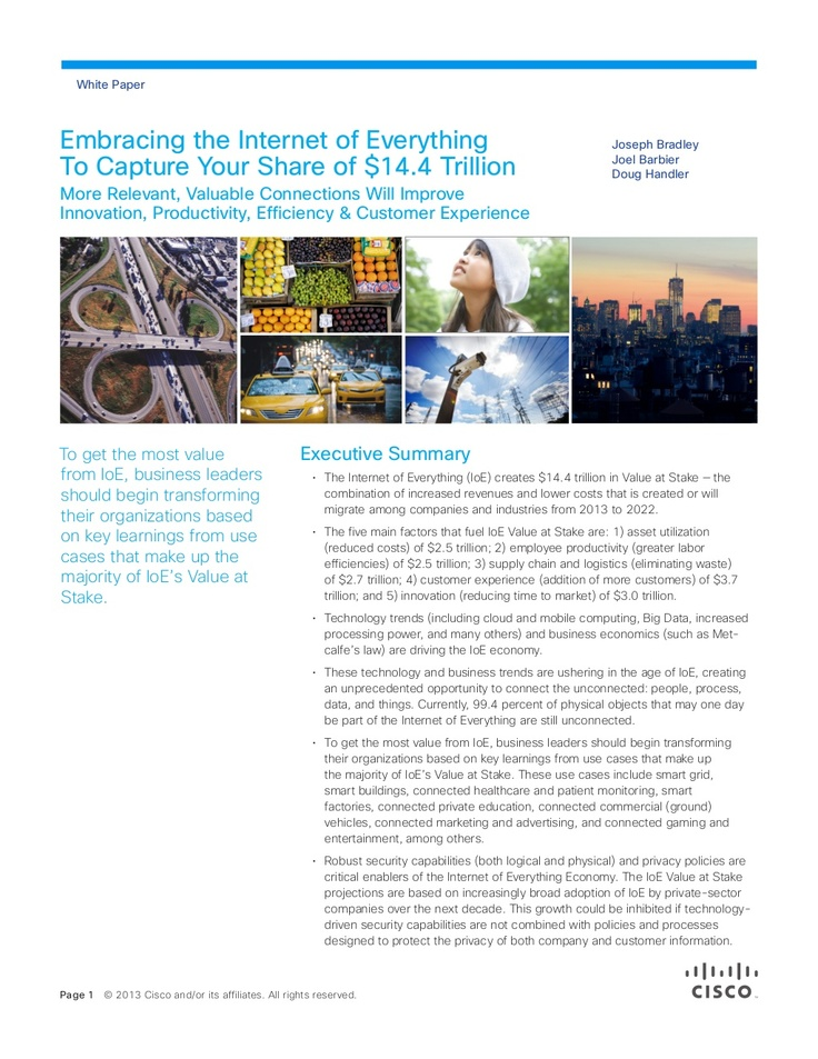 embracing-ioe-to-capture-your-share-of-144-trillion-tomorrowstartshere-16571270 by Cisco Systems via Slideshare