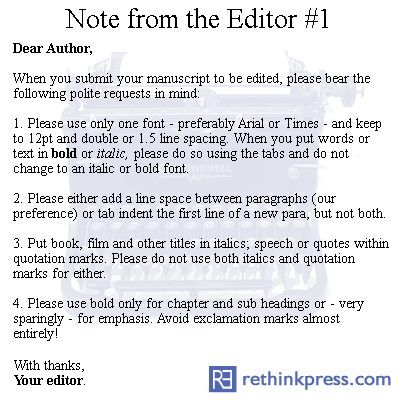 Manuscript Advice. In case I ever get as far as, well, finishing