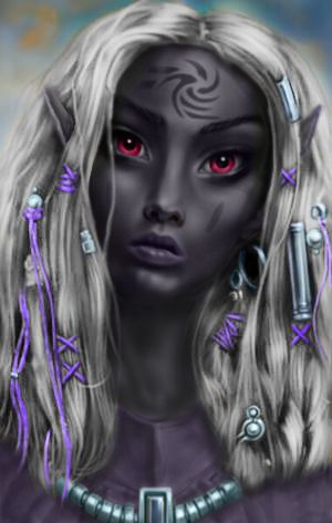 This game, I'm a Dark Elf Warlock. I gave her silver hair with beads like this, and instead of red, her eyes are pale grey.  She's a sailor who fell into a pact with the Great Old One.  She's one of my favorites so far, I think I'll have to paint her.