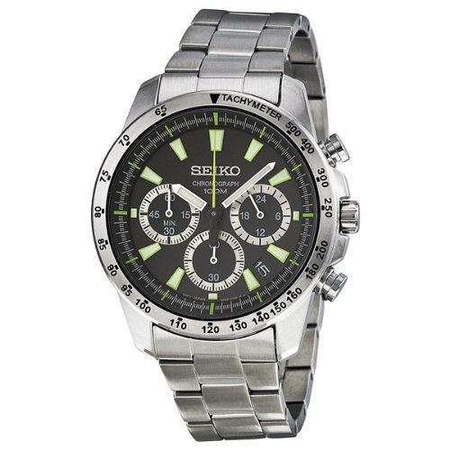 Seiko Men's SSB027 Black Dial Watch Seiko. Save 71 Off!. $123.45. Case material: stainless steel. Water-resistant to 100 M (330 feet). Quartz movement. Scratch resistant hardlex crystal. Case diameter : 40 mm