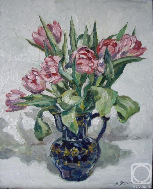 Ягужинская Анна. Розовые тюльпаны в кобальтовой вазе