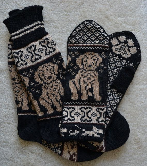 NORWEGIAN Hand Crafted 100% wool socks and mittens set, M / L, folk art,  labrador dog puppy, fair isle