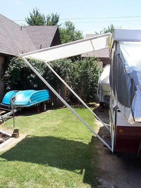 Homemade PVC pipe awning for the trailer