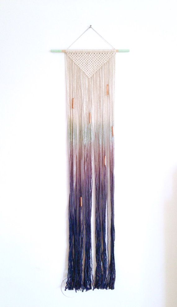 Macrame wall hanging, ombre cotton on a light wood dowel. Mint to dark blue. Triangle shape. Copper beads. Item #47