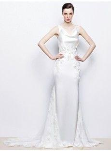 Court Train Satin Sheath Column Wedding Dress