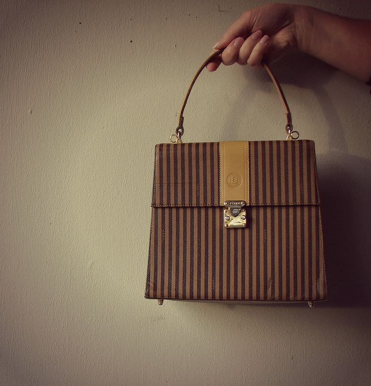Authentic Vintage Fendi Handbag Elegant Fendi Striped Bag