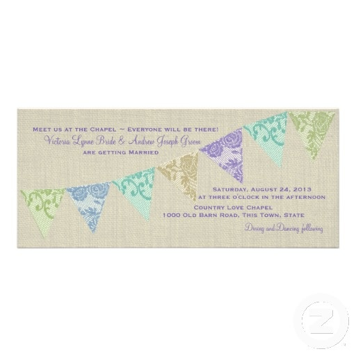 Vintage Country Lace Pennants Invitations by happygotimes