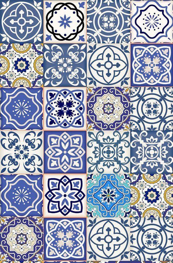 Set of 24 Tiles Decals Tiles Stickers mixed Tiles for walls Kitchen Bathroom fli…