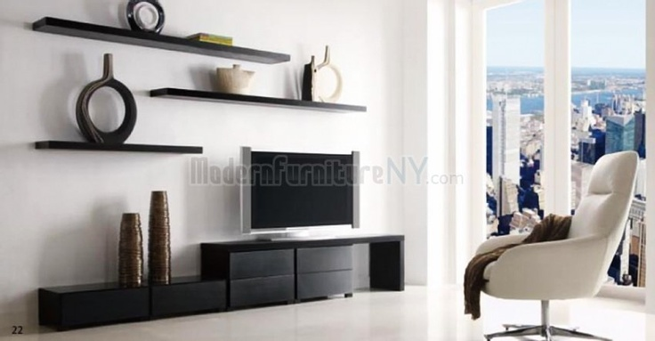 Wenge Finish Modern TV Stand with Shelves