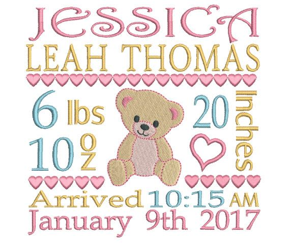 Personalized Birth Announcement Embroidery by RosiedayEmbroidery