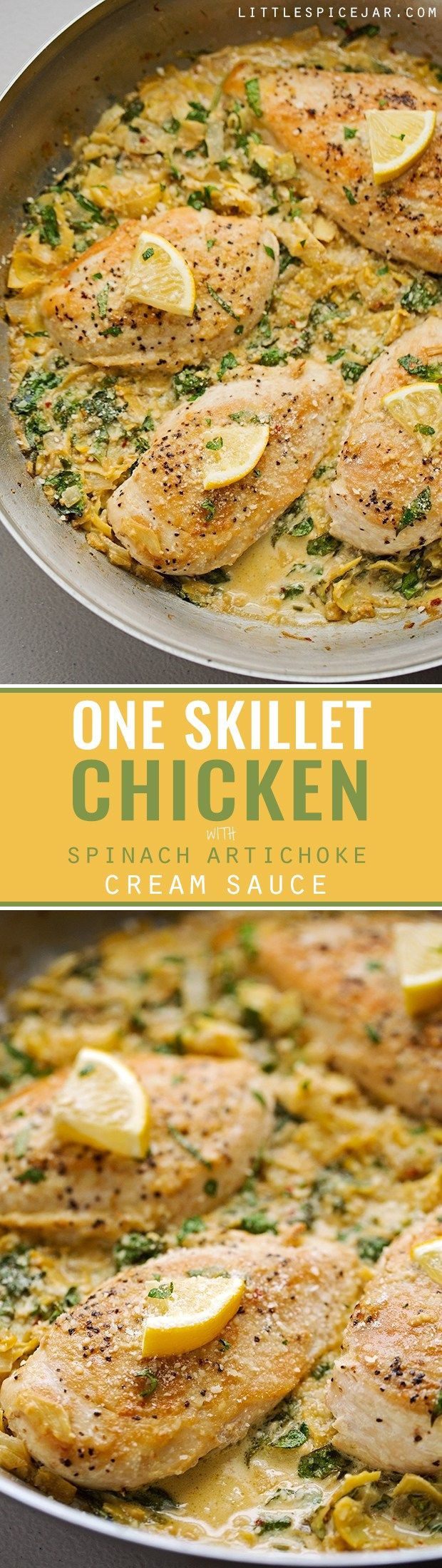 One Skillet Chicken topped with a Spinach Artichoke Cream Sauce - Ready in 30 minutes and perfect over a bed of angel hair pasta! #spinachchicken #skilletchicken #oneskilletchicken | Littlespicejar.com @littlespicejar