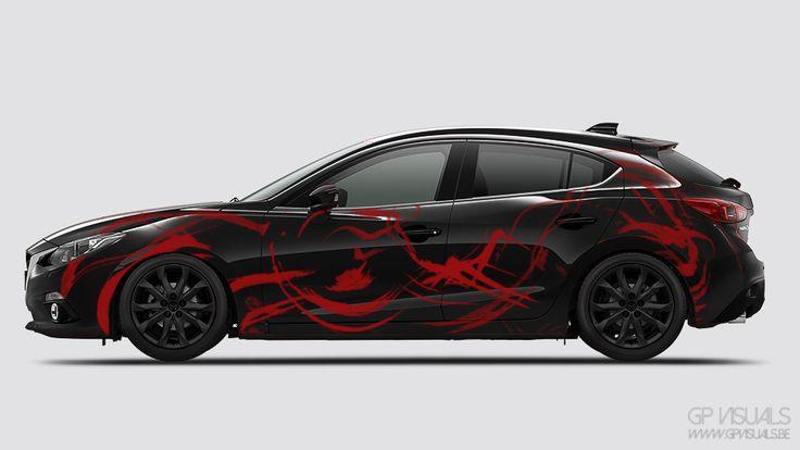 A body art design of the 2014 mazda 3, black body and wheels, red sticker design and lowered suspension. #mazda #mazda3 #JDM #design