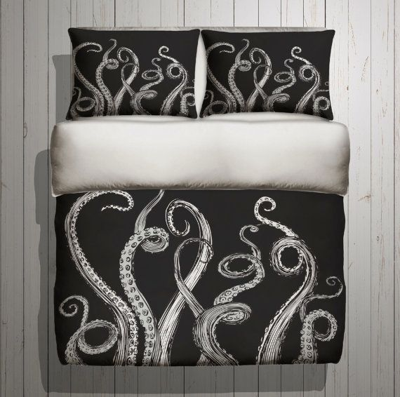 Octopus Bedding  Octopus Tentacle Design  ANY COLOR by InkandRags