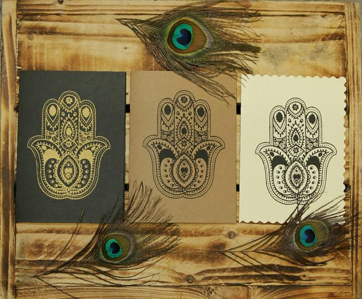 Hamsa hand printed cards. Gold and black ink