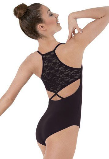 NEW DANCE BODYSUIT LEOTARD Black Lace Back Halter size SA Adult Small AS