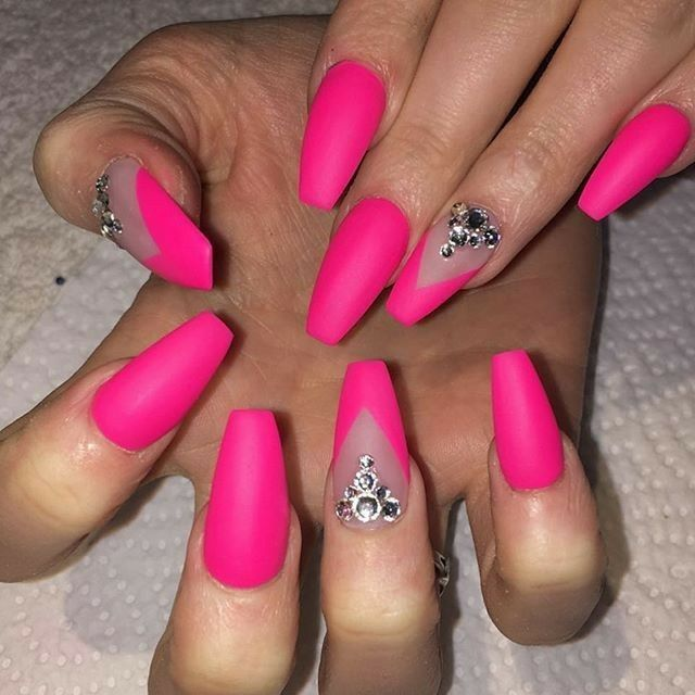 Neon Pink Nails Ballerina Nails Nails With Rhinestones Matte Nails Acrylic Nails Gel Nails Neon Pink Nails Pink Acrylic Nails Rhinestone Nails