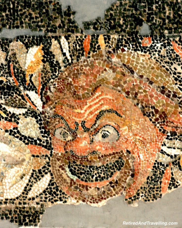 The mosaics in the museum on Delos, Greece were colourful and well preserved!