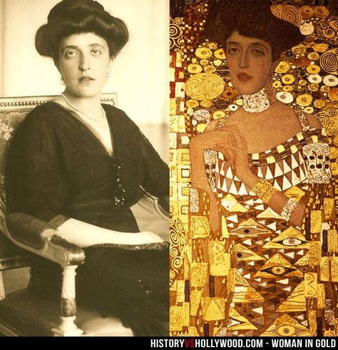 Adele Bloch-Bauer by Gustav Klimt. Adele was the beloved Aunt of Maria Altmann, who belonged to an Austrian family, from whom the Nazis looted the painting along with everything the family owned. Maria fought the Austrian government to get the painting back with the help of lawyer Randol Schoenberg. Helen Mirren plays Maria Altmann in 'Woman in Gold' - #ArtHistory #ArtLove