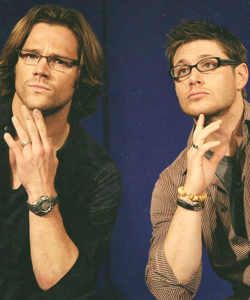 Jared Padalecki and Jensen Ackles in glasses. I like them in glasses.