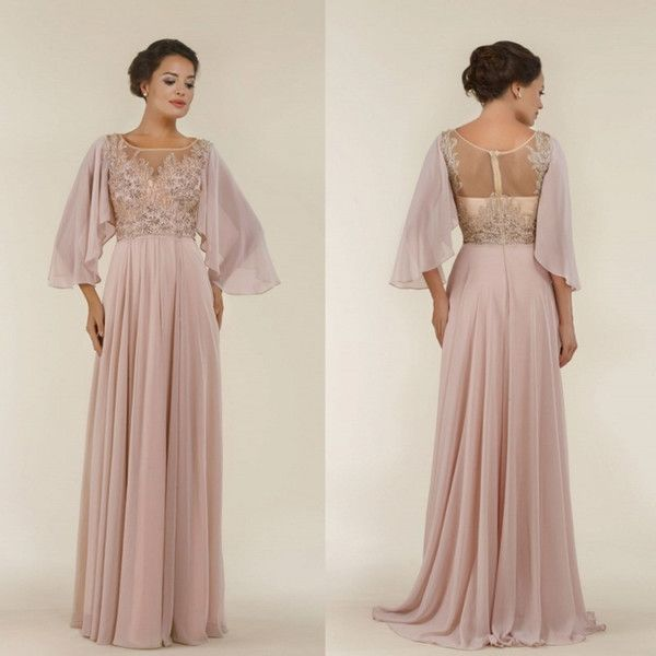 Plus Size Chiffon Mother Of The Bride Dresses With Sleeve Lace Applique Beads Gowns For Mothers Groom Cheap Long Wedding Guest Dress Mother Of The Bride Plus Size Mother Of The Brides Dresses From Manweisi, $123.87| Dhgate.Com
