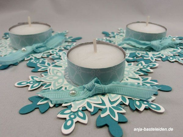 like this idea but with plastic snowflakes and battery operated tea lights