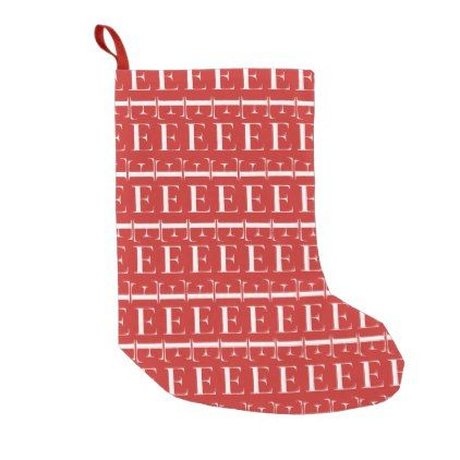 monogram initial pattern letter e in white on red small christmas stocking christmas stockings merry