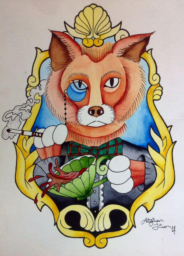 Neotraditional fox sketch, watercolor