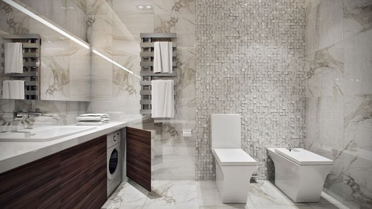 Minimalist Modern Apartment with Luxurious Look: Luxurious Apartment In Germany Bathroom Design Combined With Hidden Laundry Set Stored Inside Wooden Vanity