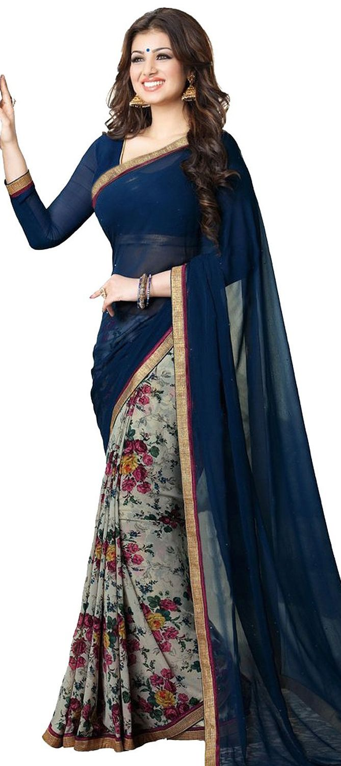 708262: Black and Grey, Blue color family Bollywood sarees, Printed Sarees with matching unstitched blouse.