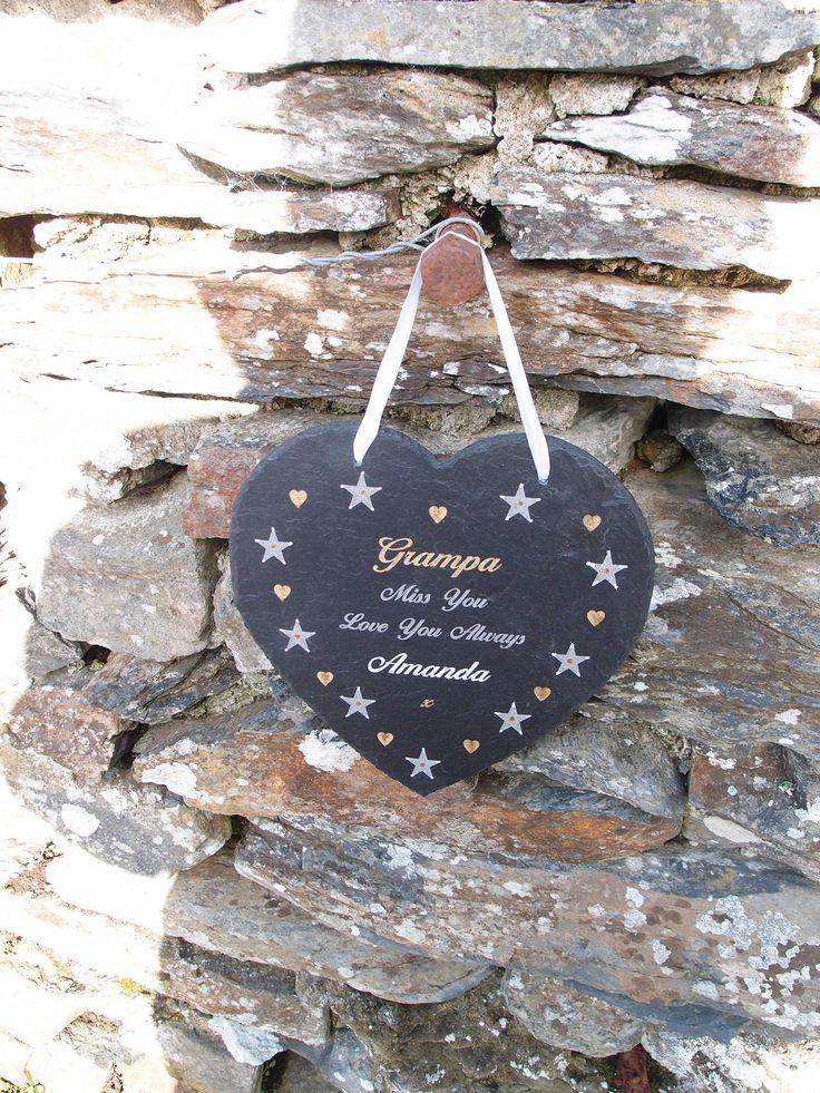 Engraved slate memorial heart