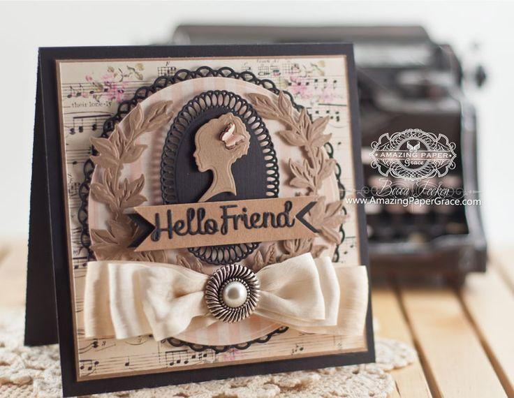 Friendship Card Making Ideas by Becca Feeken using Spellbinders Silhouette - www.amazingpapergrace.com