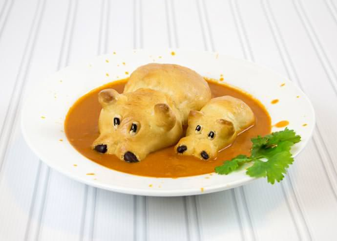 This delightful recipe makes bread hippos that peak out of your favorite soup!