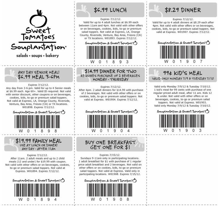 Souplantation  Sweet Tomatoes: 7 Printable Coupons http://takecoupons.net/restaurantscoupons/item/souplantation-coupons http://www.pinterest.com/MiaCoupons/souplantation-coupons/