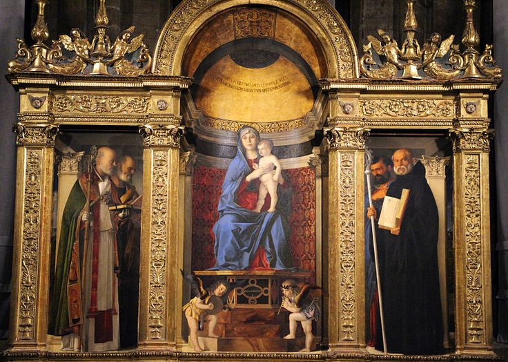 Chiesa dei Frari Giovanni Bellini Madonna and Child with Saint Nicholas, Saint Peter, Saint Benedict and Saint Mark the Evangelist