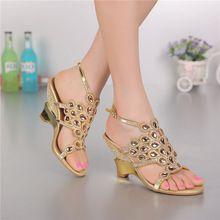 Mujeres de las sandalias del partido del cuero genuino sandalias femeninas Rhinestone para mujer zapatos de moda casual sandalias cristalinas GS-L003GDP(China (Mainland))
