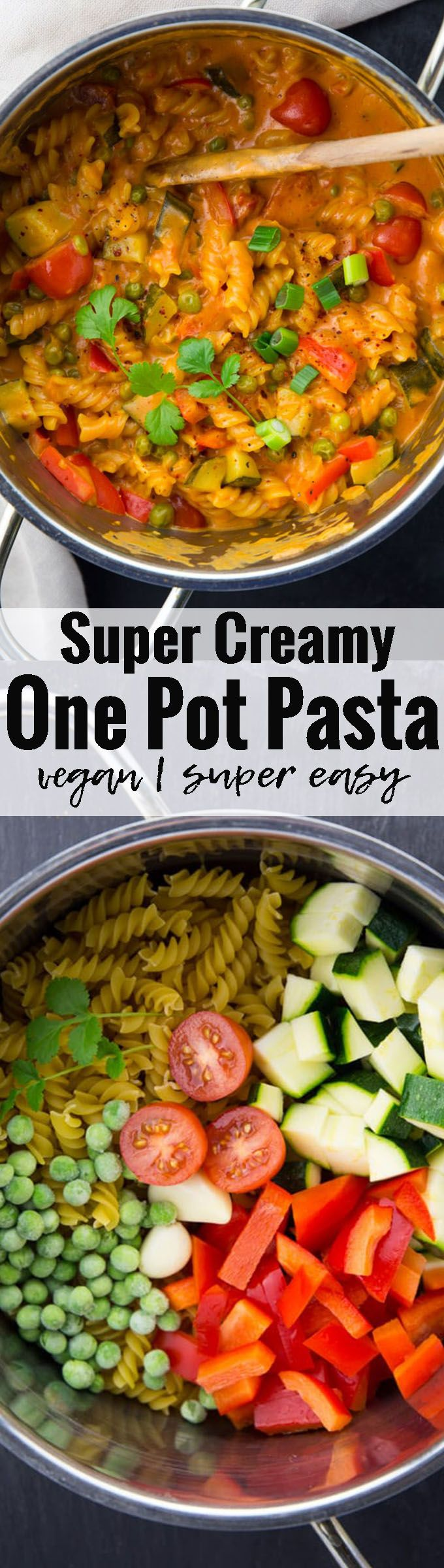 This one pot pasta is one of my all-time vegan pasta recipes! It SO easy, healthy, and so incredibly delicious and creamy. The sauce is made of coconut milk and red curry paste, so it's kind of a an Asian style one pot pasta! <3 Find more vegan recipes at veganheaven.org