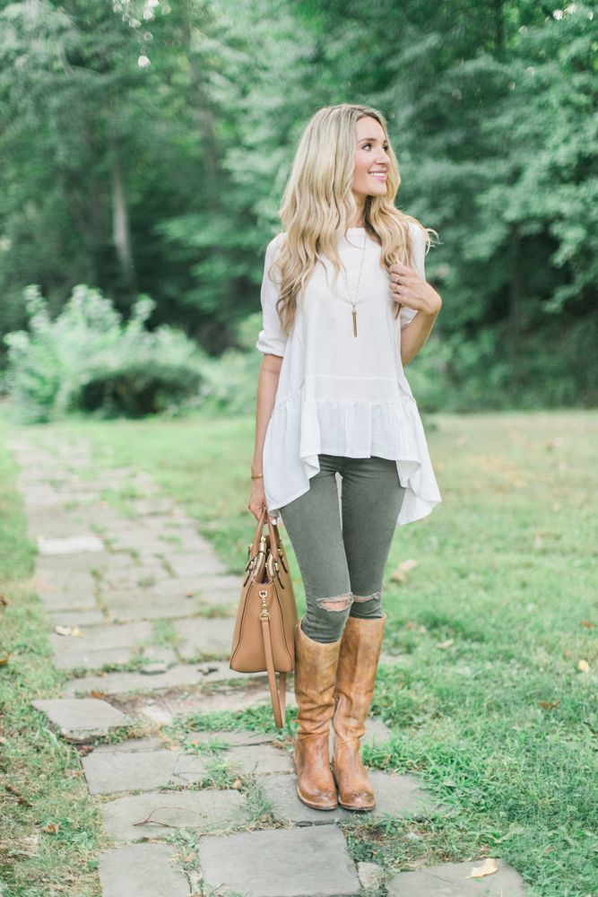 White Hi-Lo Top and Laced Riding Boots - Blonde Expeditions. Paired it with this easy light hi-low tunic and some cognac details. I love this look so much I'll be throwing a chunky sweater or blanket scarf over the look for when the temps drop lower!