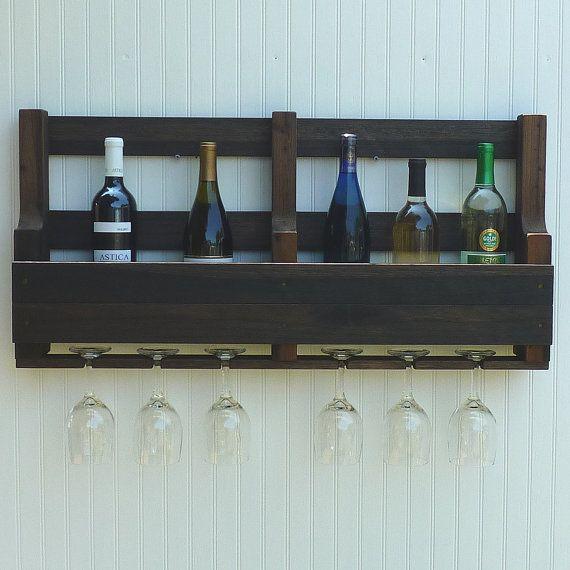 Large Wine Rack Rustic Bottle and Glass by oakstudiosofdesign
