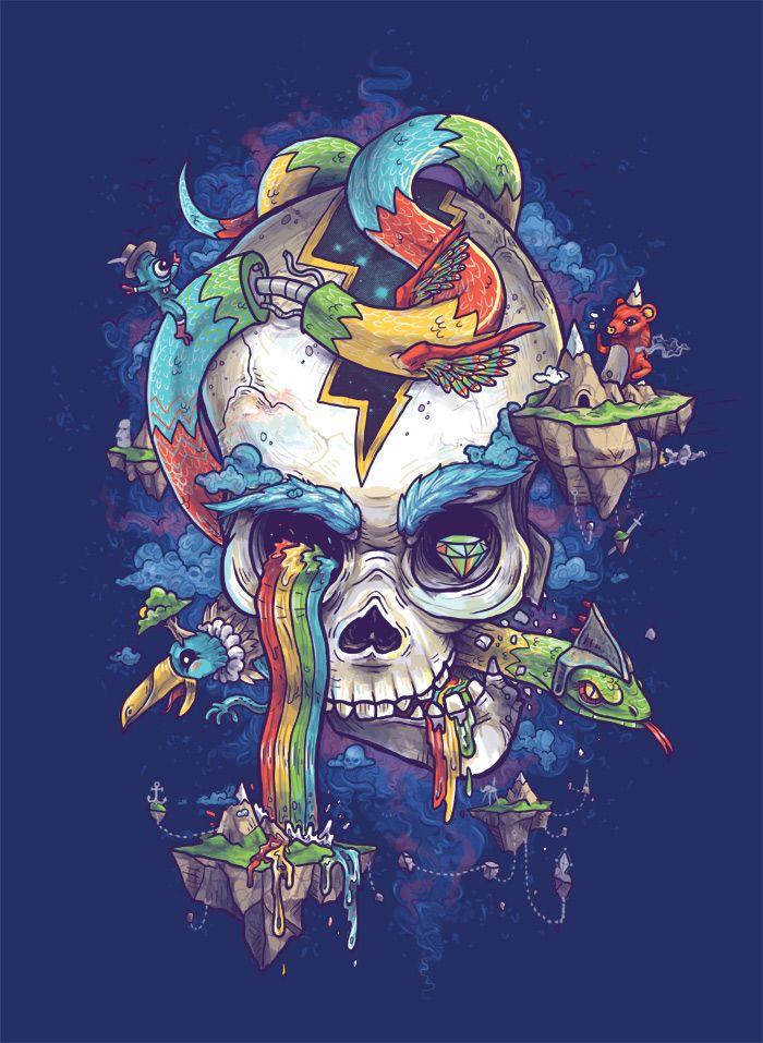 Flying Rainbow Skull Island by Biotwist.