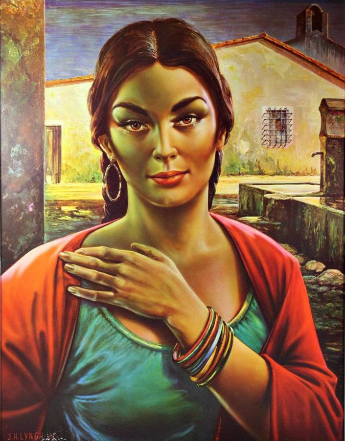 """Lalinda the Gypsy Seller"". Artwork by J.H. Lynch, 1960"
