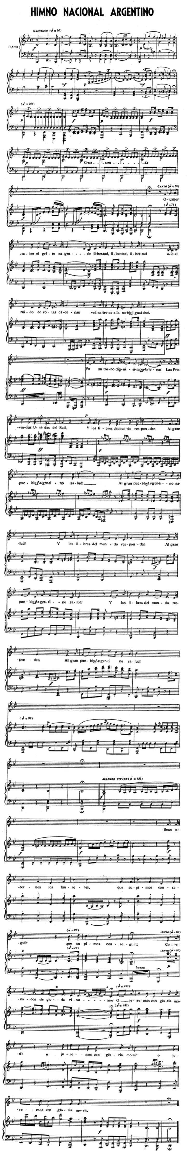 Partitura del Himno Nacional Argentino / Sheet Music of the Argentine National Anthem