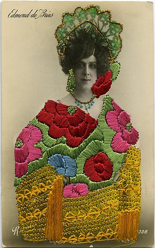 Embroidered Postcard. From the collection of Angelica Paez.