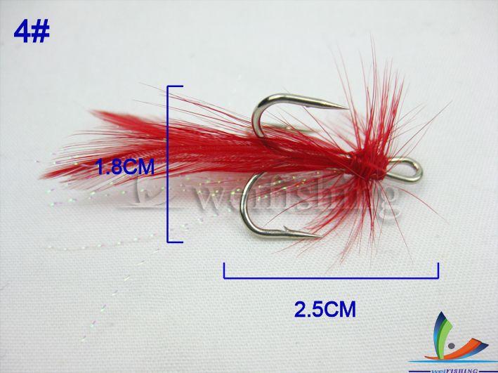 Рыболовный крючок Бесплатная доставка! Fly рыболовный крючок. 2.5 см Высоких крюк .. Красное перо. 4 #. 50 шт./лот