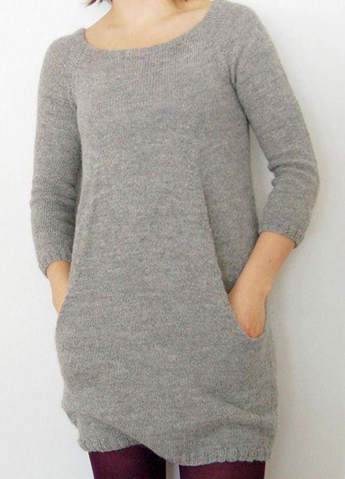 туника с карманами спицами фото модели