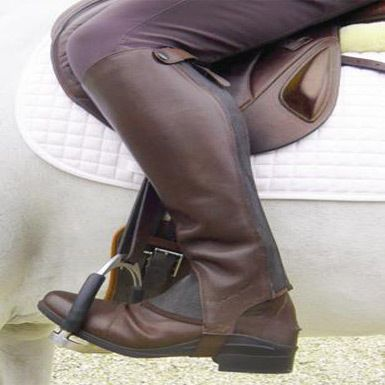 MT Competition Leather Chaps Brown X Large Tall - Top Gear Equestrian
